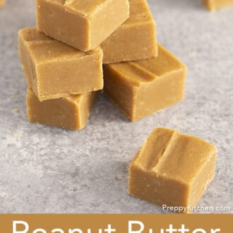 stack of peanut butter fudge on a gray surface