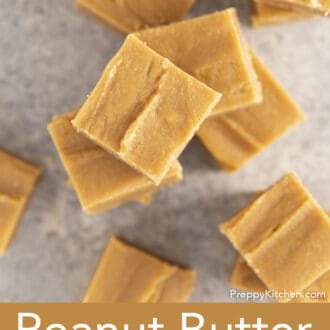 top down photo of a stack of peanut butter fudge