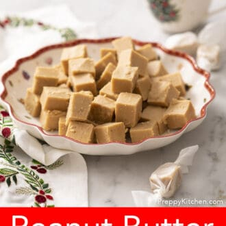 Peanut butter fudge pieces sitting on a christmas tray
