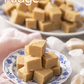 Peanut butter fudge pieces sitting on a blue and white plate