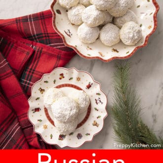 over head shot of russian tea cakes on a christmas plate