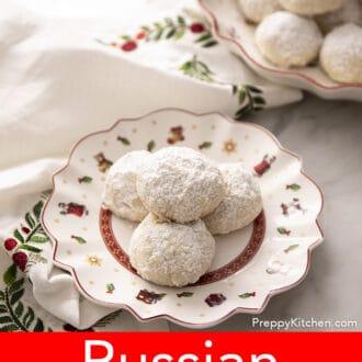 russian tea cakes on a christmas plate