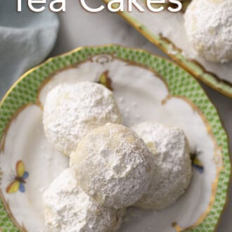 close up photo of russian tea cakes on a plate
