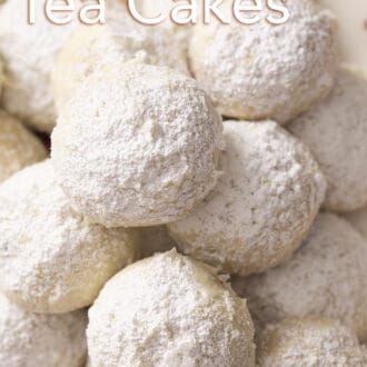 close up of several russian tea cakes