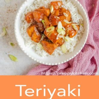 teriyaki chicken in a bowl with rice