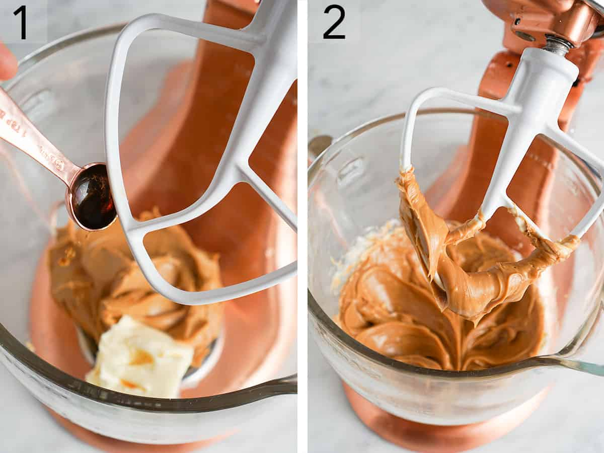 Peanut butter, butter and vanilla getting mixed in a bowl.