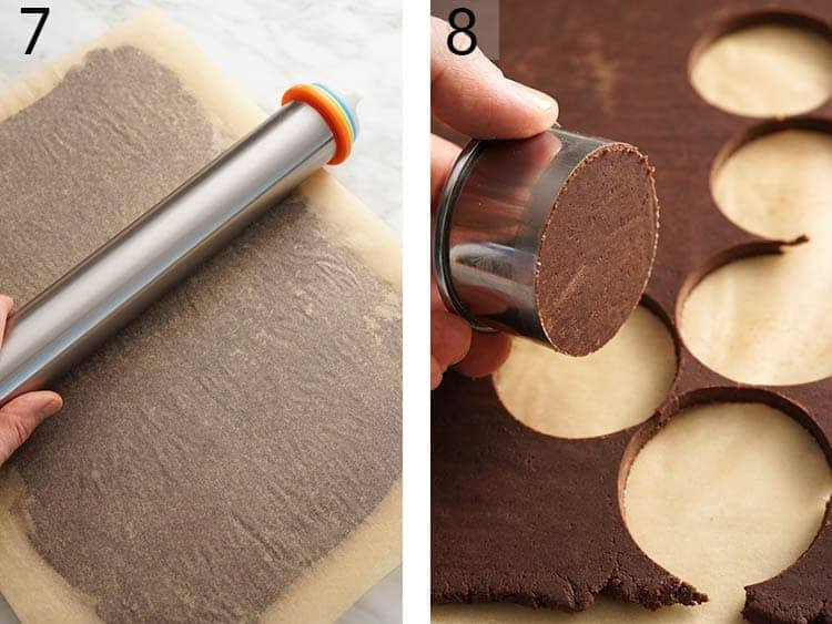 Chocolate sugar cookie dough getting rolled out and cut.