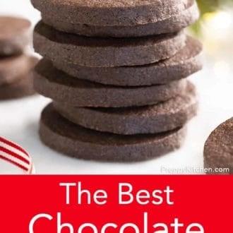 stack of chocolate sugar cookies