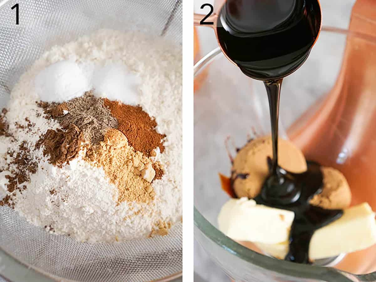 Two photos showing spices and flour getting sifted for gingerbread men and butter getting mixed with brown sugar.