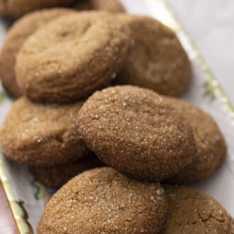 gingersnap cookies sitting on a platter