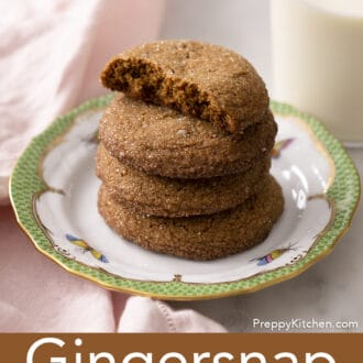 gingersnap cookies stacked on a plate
