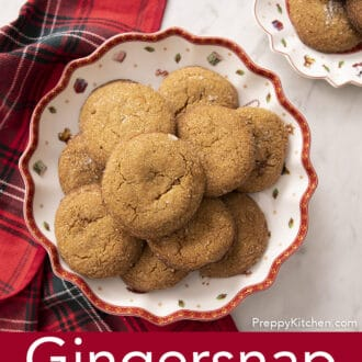 gingersnap cookies sitting on a Christmas plate