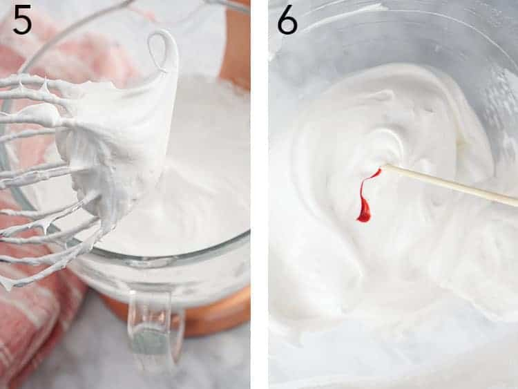 Meringue getting colored with pink dye.