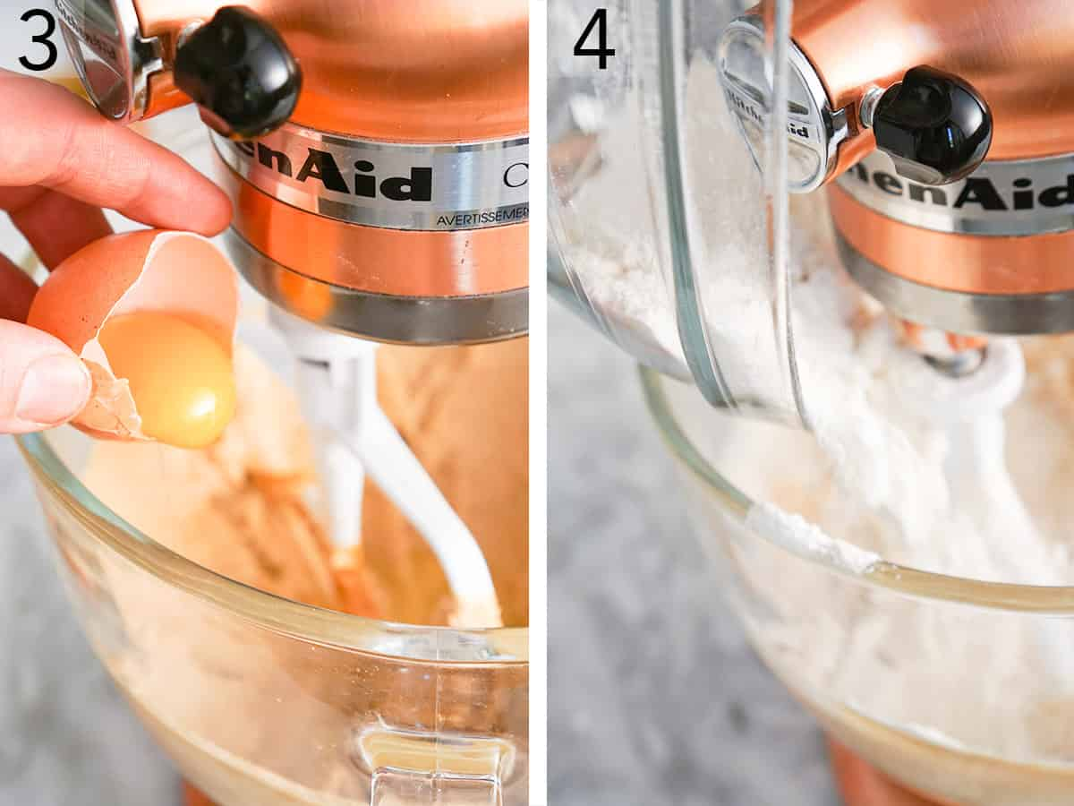 Peanut butter blossom dough being made in a copper stand mixer.