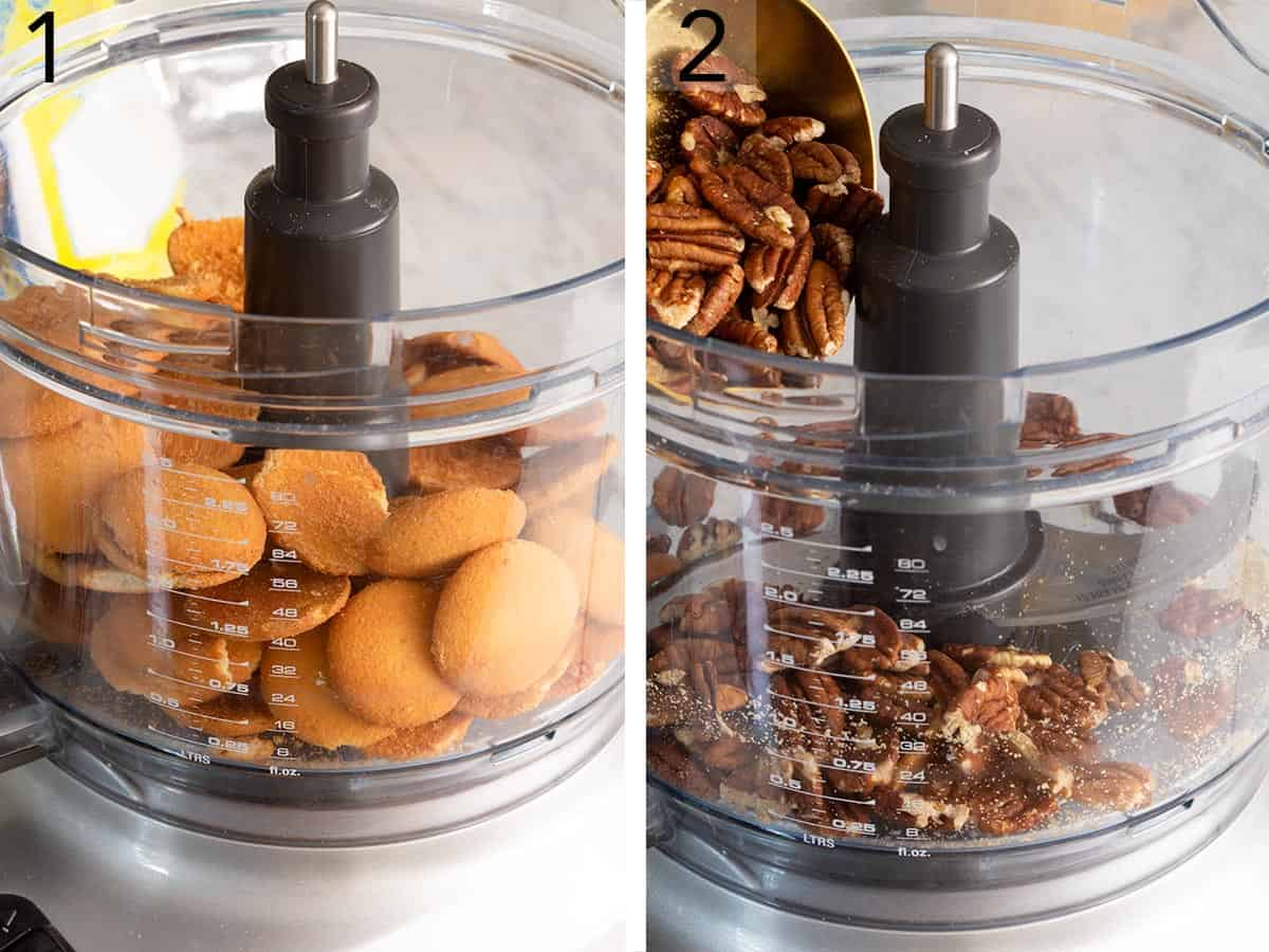 A set of photos showing cookies and pecans getting processed in the food processor.