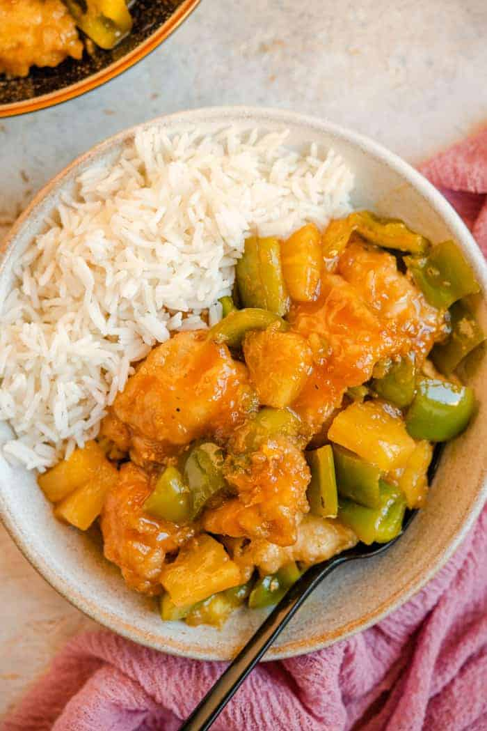A close up of sweet and sour chicken