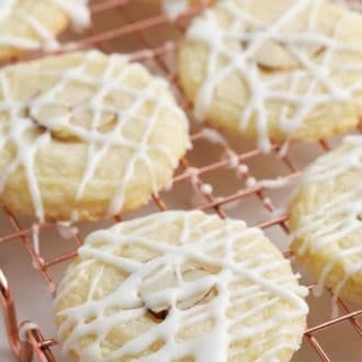 almond cookies on a cooling rack