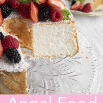 angel food cake on a glass cake stand