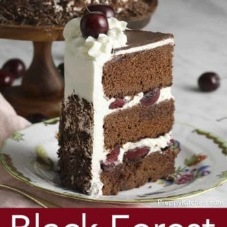 piece of black forest cake on a plate