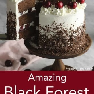 black forest cake on a wooden cake stand