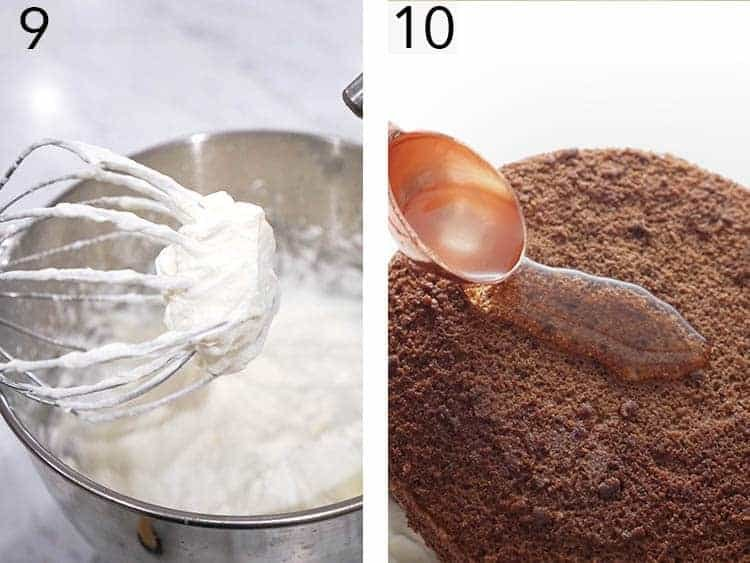 Whip cream in a mixing bowl.