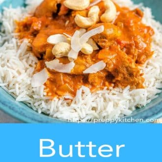 butter chicken in a blue bowl
