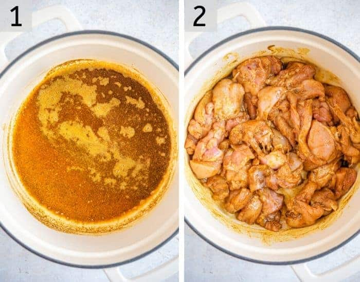 Two photos showing chicken cooking in spices