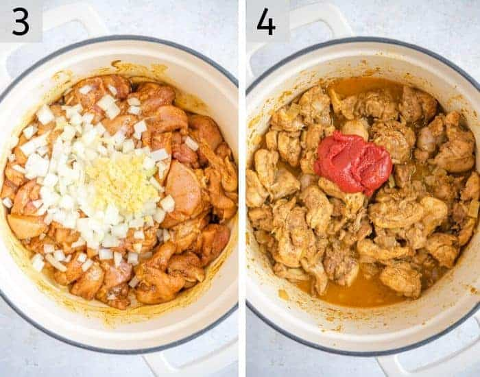 Two photos showing adding onion and tomato to a chicken curry