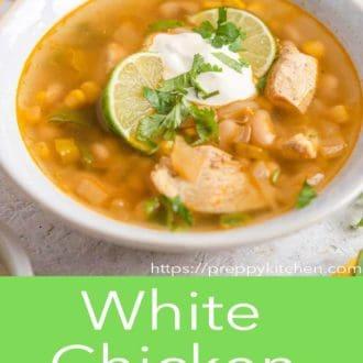 white chicken chili in a gray bowl
