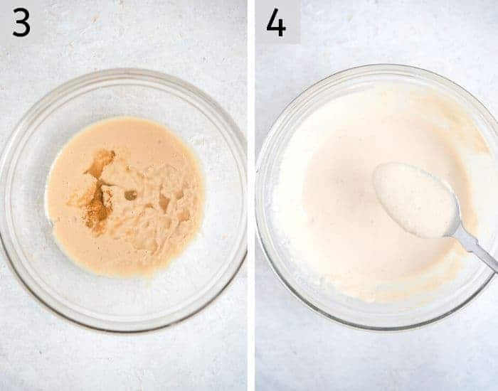 Two photos showing how to make tahini dressing
