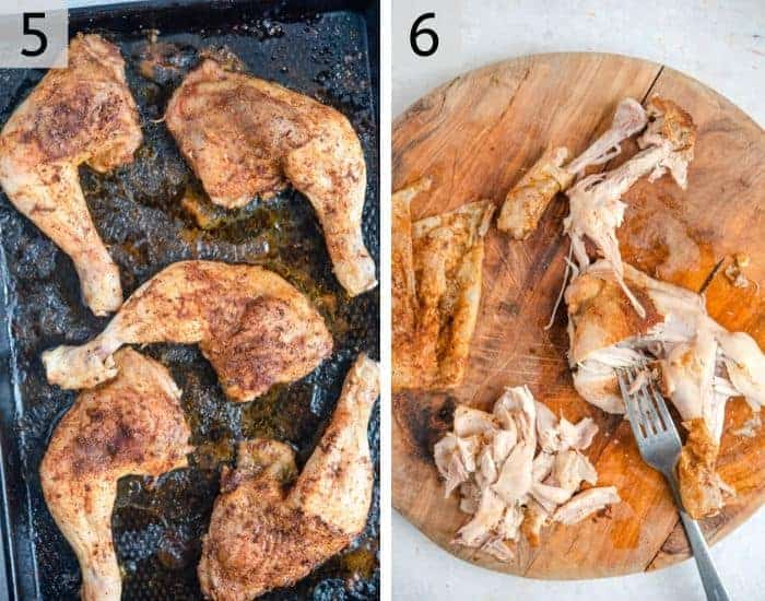 Two photos showing cooked chicken shawarma and how to chop it