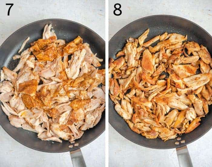 Two photos showing how to crisp up chicken in a skillet