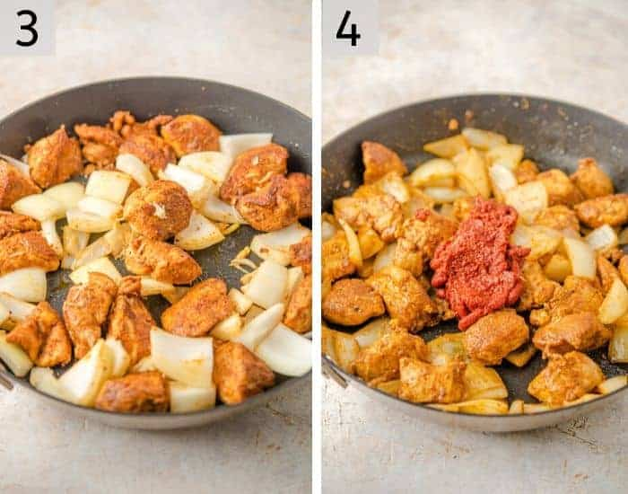 Two shots showing how to make an Indian chicken curry