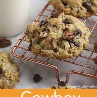 cowboy cookies on cooling rack