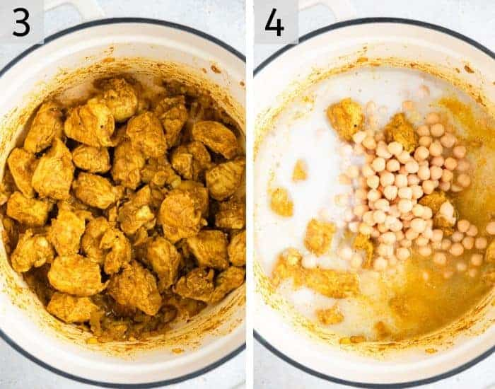 Two photos showing how to make chicken curry
