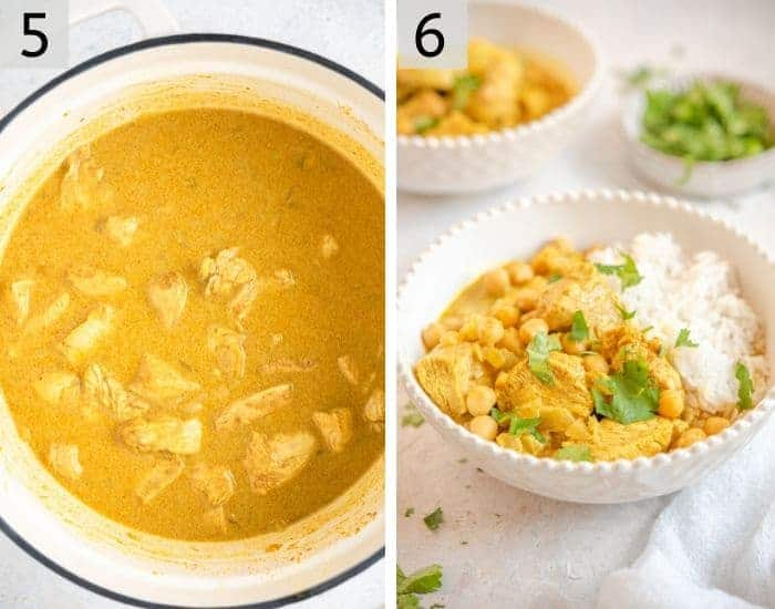 Two photos showing how to serve chicken curry