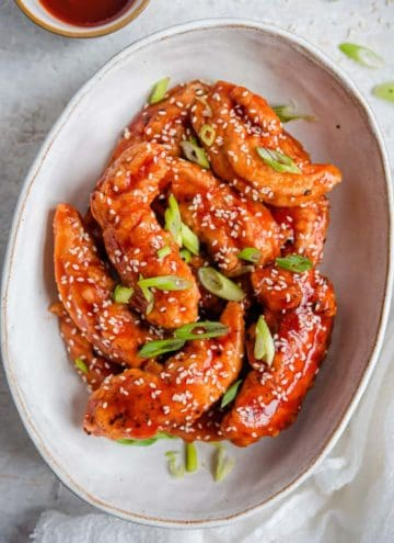 Korean fried chicken in a serving bowl