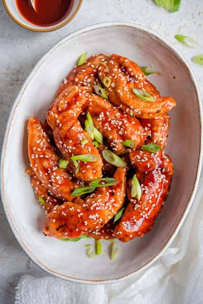 Korean fried chicken in a serving bowl