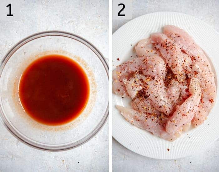 Two photos showing the ingredients for making korean fried chicken