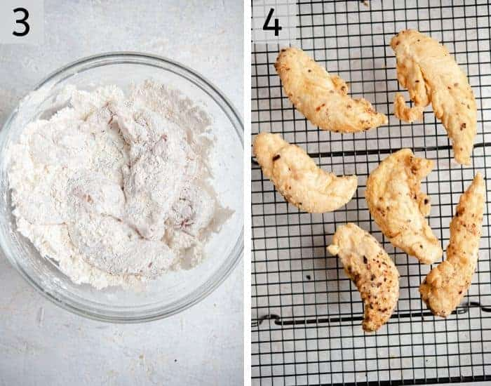 Two photos showing how to fry chicken tenders