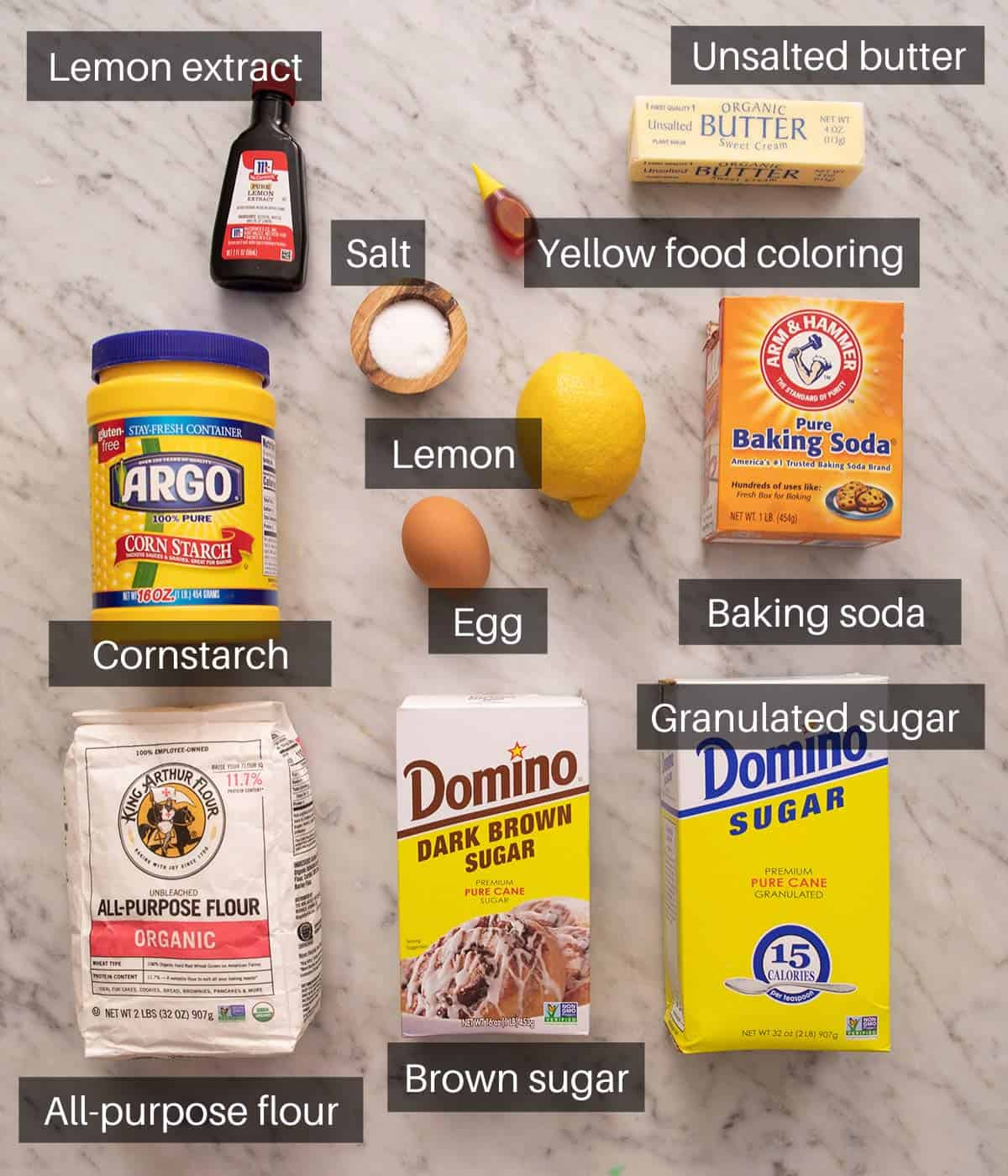 An overhead shot of all the ingredients you need to make lemon cookies