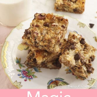 Magic Cookie Bars on a plate next to a glass of milk.