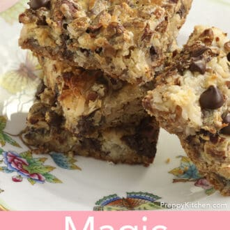 Four Magic Cookie Bars on a plate.