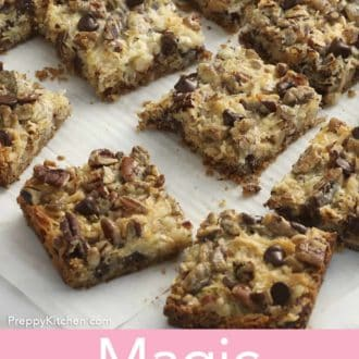 magic cookie bars on parchment paper