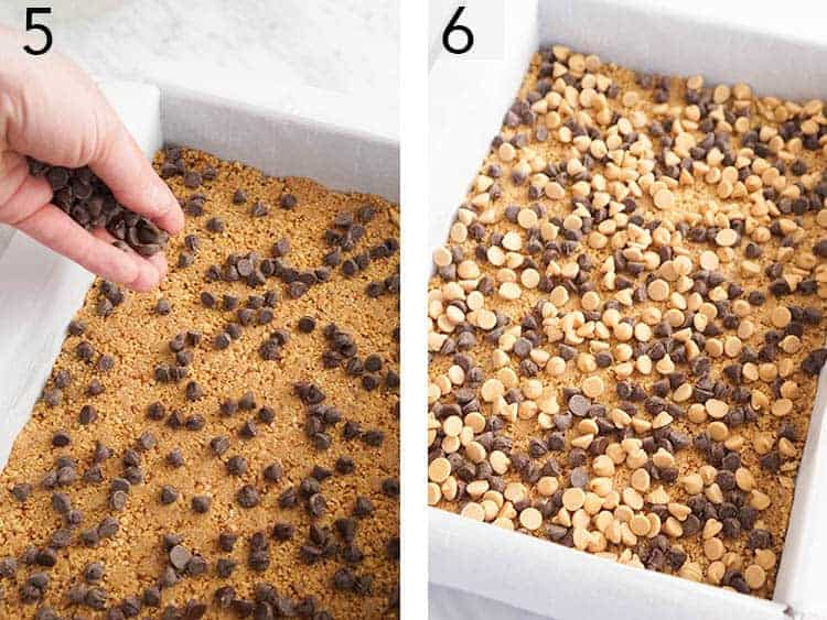 Chocolate chips and peanut butter chips getting sprinkled onto a Magic Cookie Bar crust.