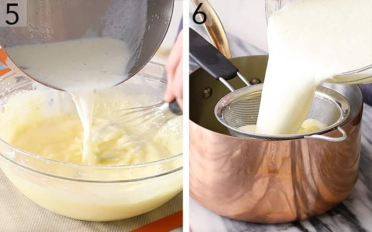 Hot milk pouring into an egg yolk mixture to make pastry cream.