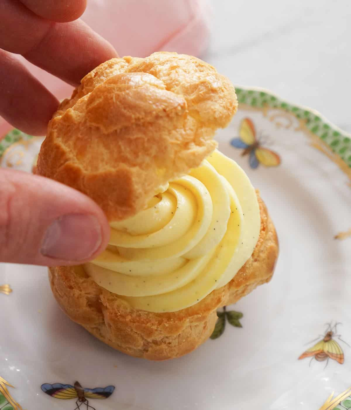 A puff of choux filled with pastry cream