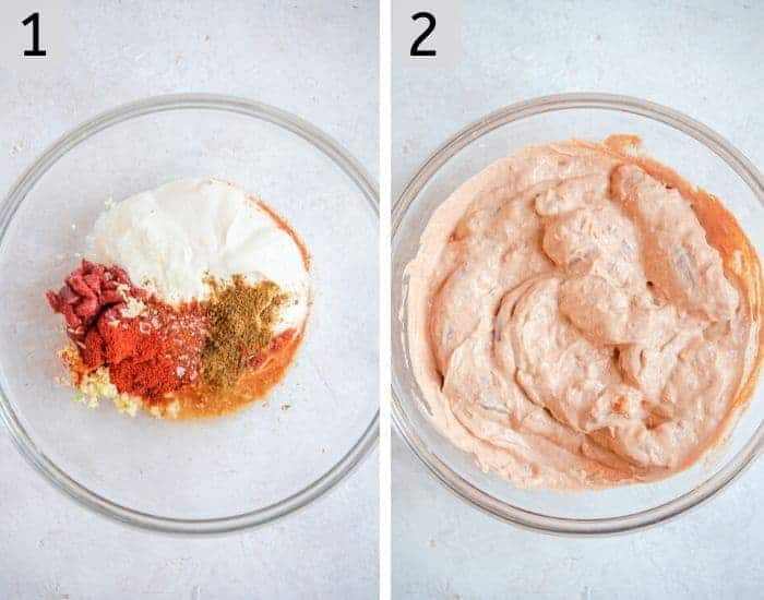 Two photos showing how to marinate tandoori chicken