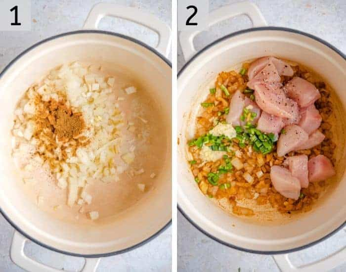 Two photos showing how to brown onions and chicken in a dutch oven
