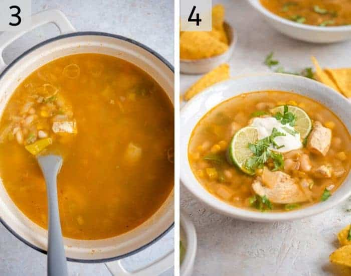 Two photos showing how to make white chicken chili